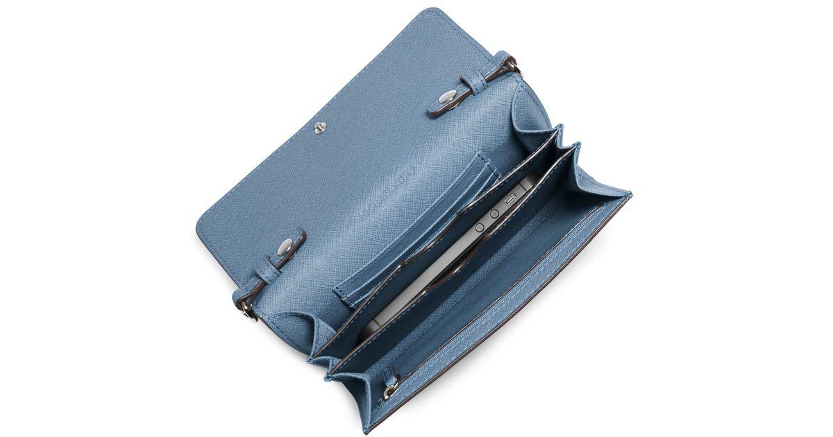 58ee84967343 Lyst - Michael Kors Jet Set Saffiano Leather Smartphone Crossbody Bag in  Blue