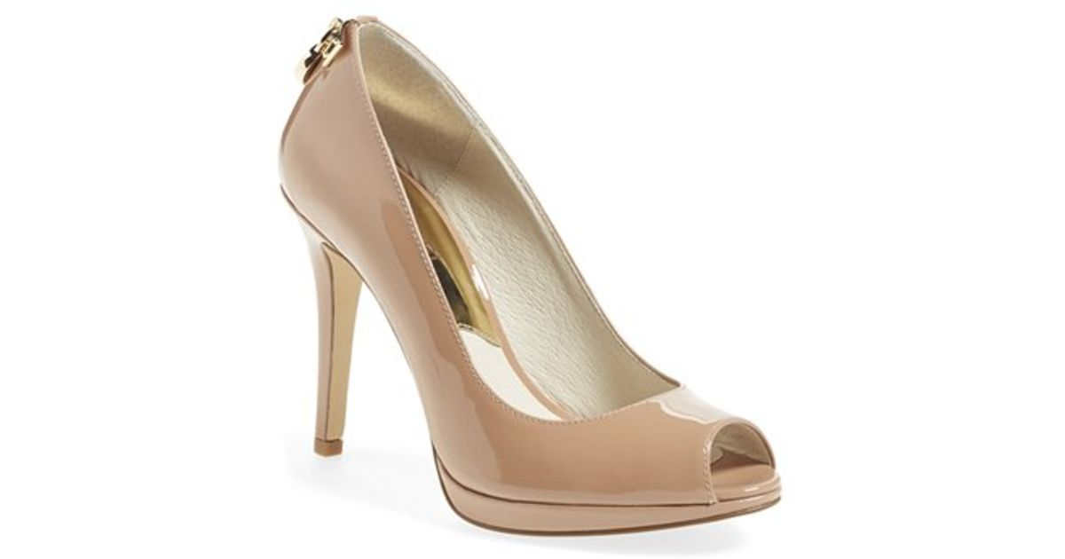 006cd5d6a46c Lyst - MICHAEL Michael Kors Hamilton Peep-Toe Pumps in Natural