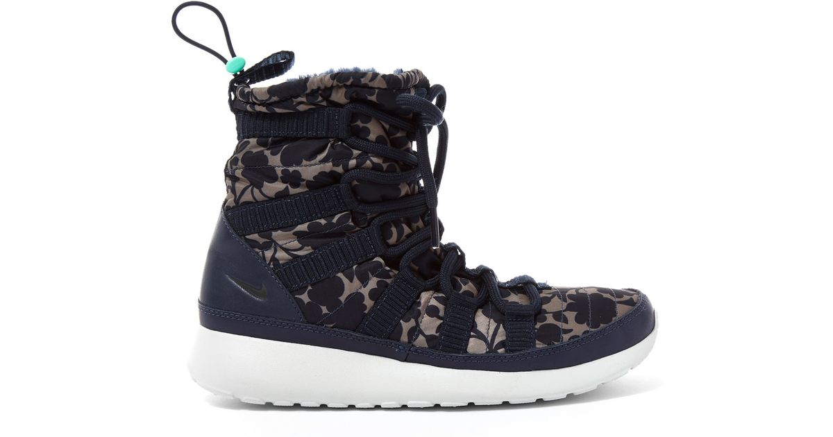 cded6122aa19 ... discount code for nike obsidian cameo print roshe one hi top trainers  in blue lyst c5469