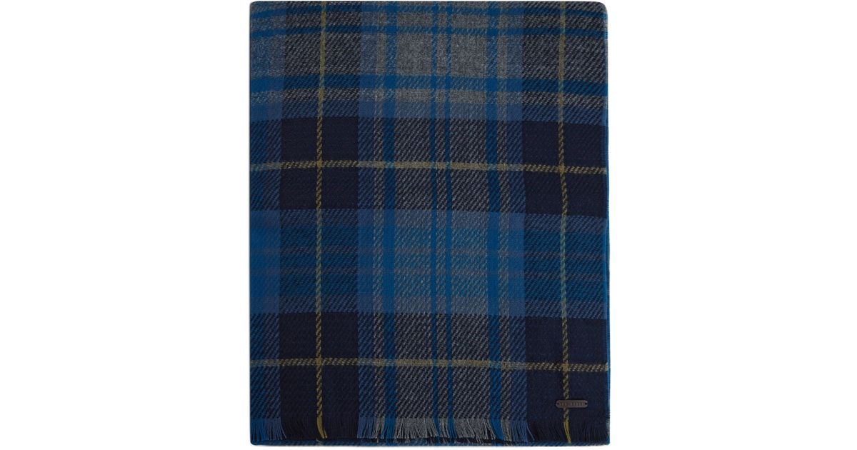 880acf0e Ted Baker Jamesal Checked Scarf in Blue for Men - Lyst