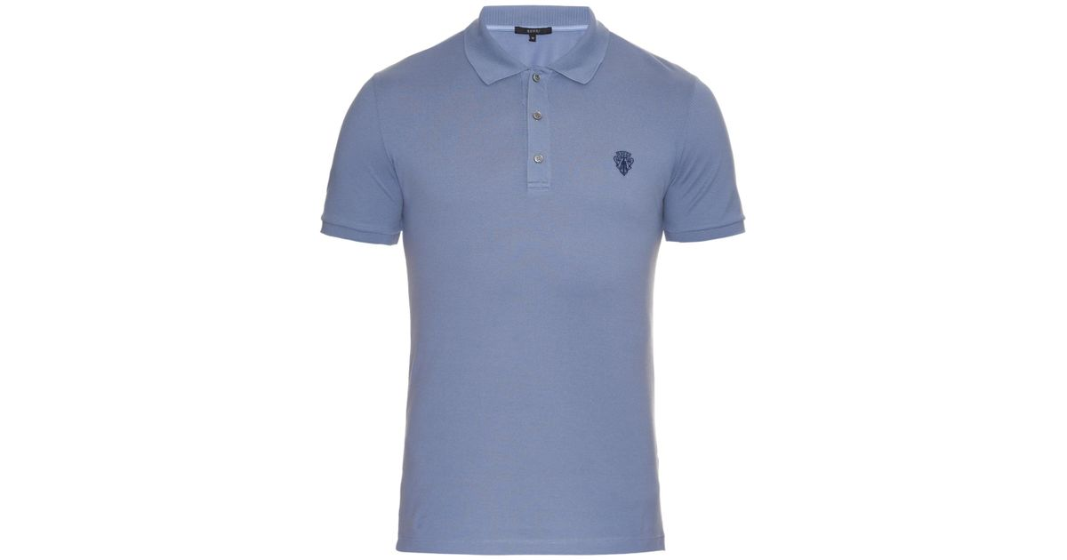e51173265 Gucci Short-sleeved Piqué Polo Shirt in Blue for Men - Lyst