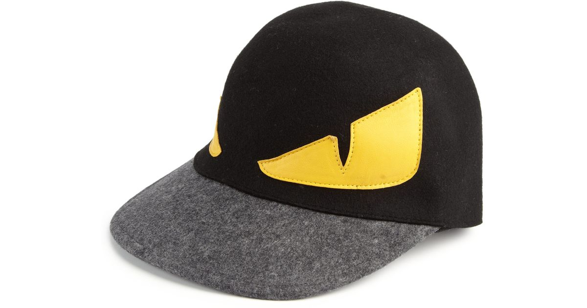f4db20d6f1b Lyst - Fendi Monster Wool Baseball Cap in Black for Men