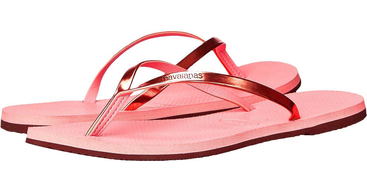 c788101ea00035 Lyst - Havaianas You Metallic Flip Flops in Pink