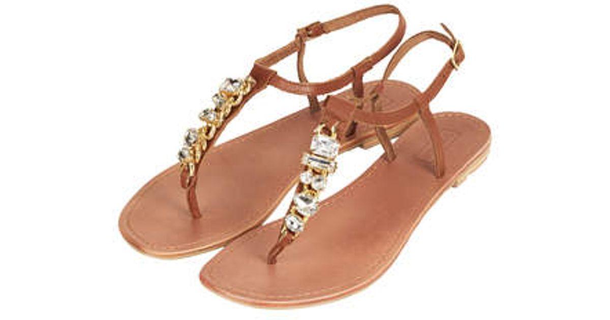 Sandals Lyst Embellished Brown Topshop Hotter EHW29DI