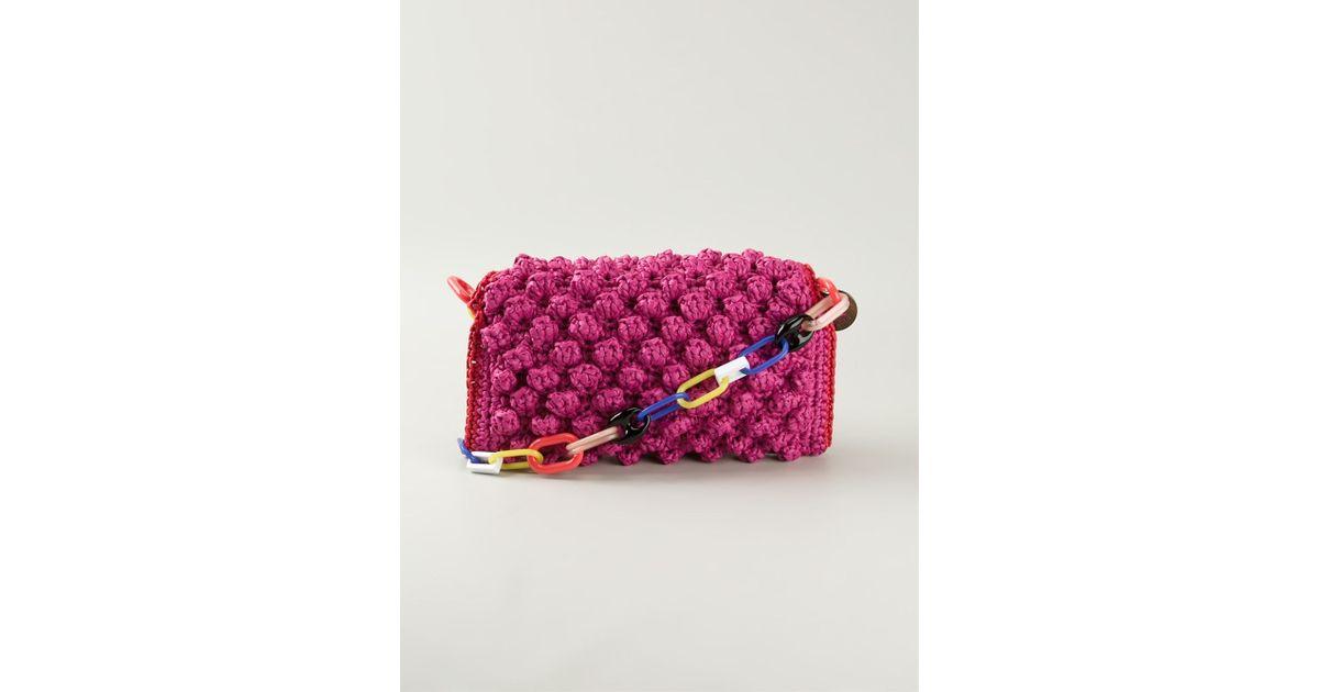 Lyst M Missoni Boucl Knit Shoulder Bag In Pink
