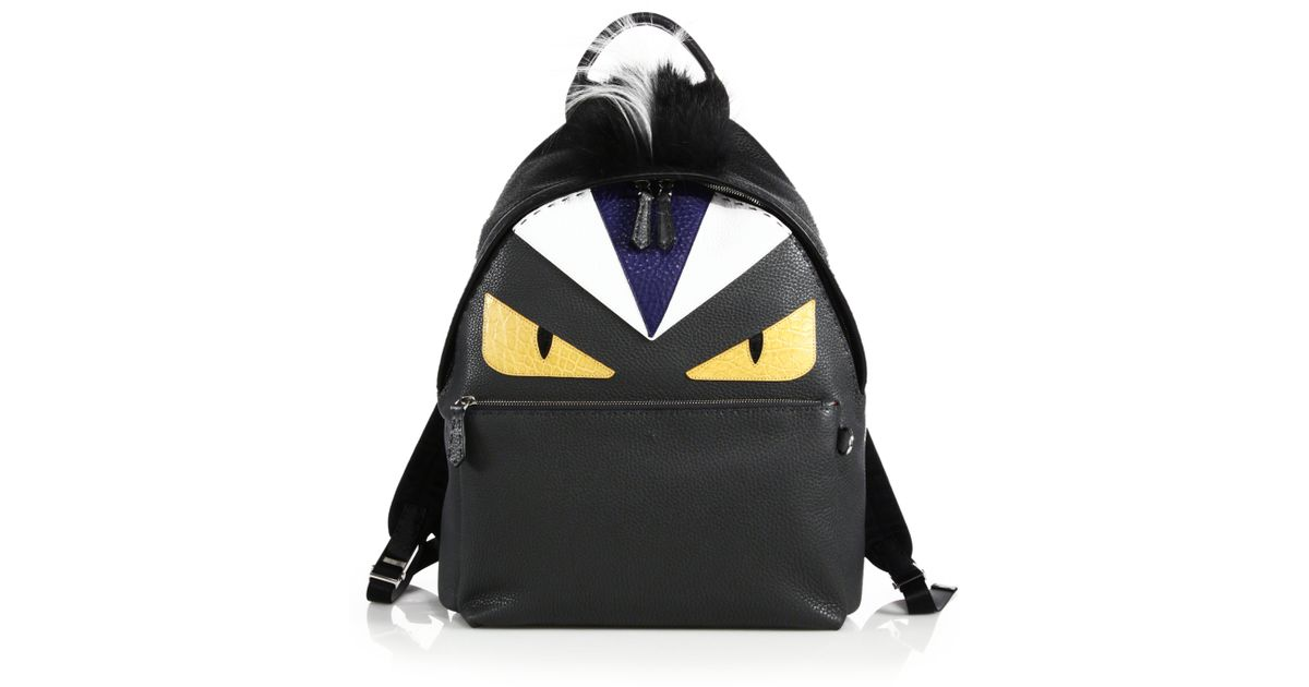 Lyst - Fendi Monster Fur-trimmed Leather Backpack in Black afbd3125e201a