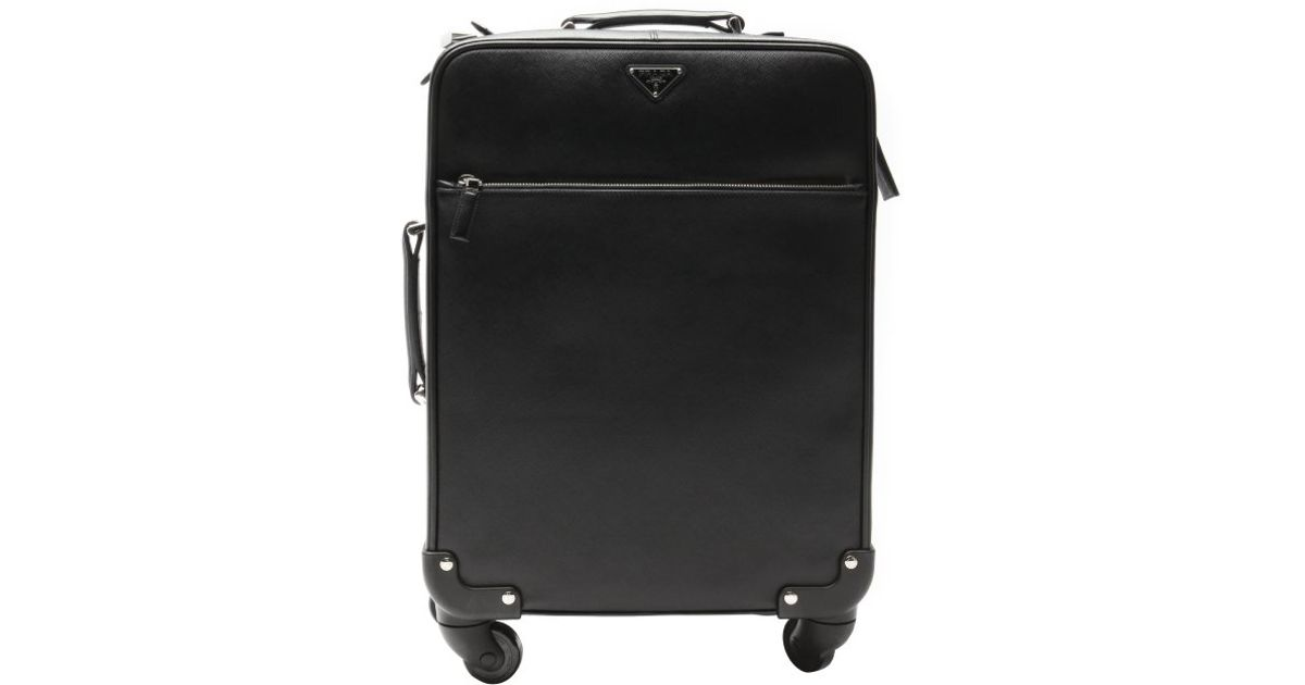 Prada Black Saffiano Leather Carry-on Rolling Suitcase in Black ... - prada trolley black