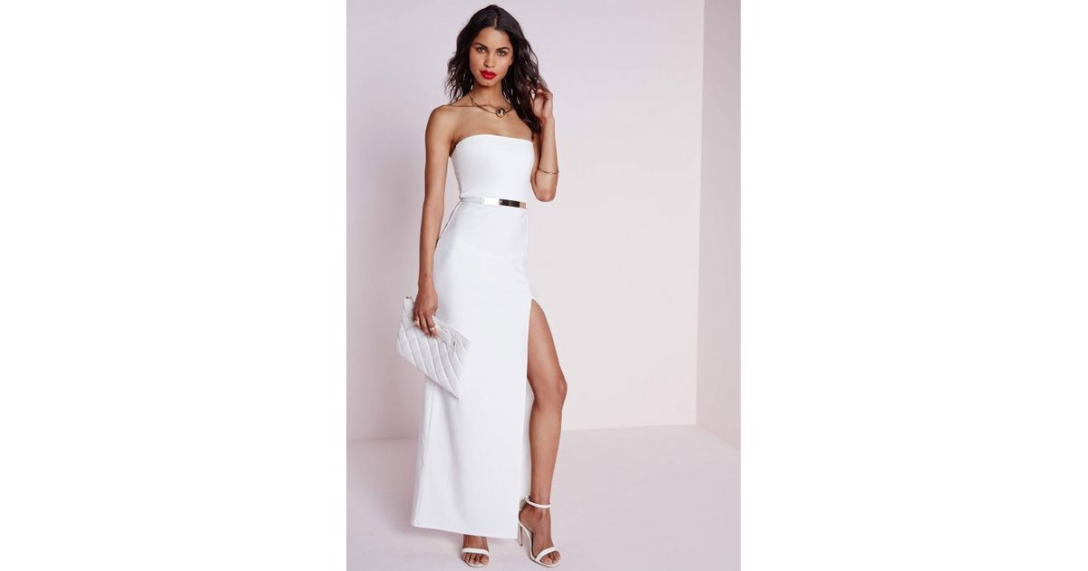 f0940acfd60 Missguided Crepe Front Split Bandeau Maxi Dress White in White - Lyst