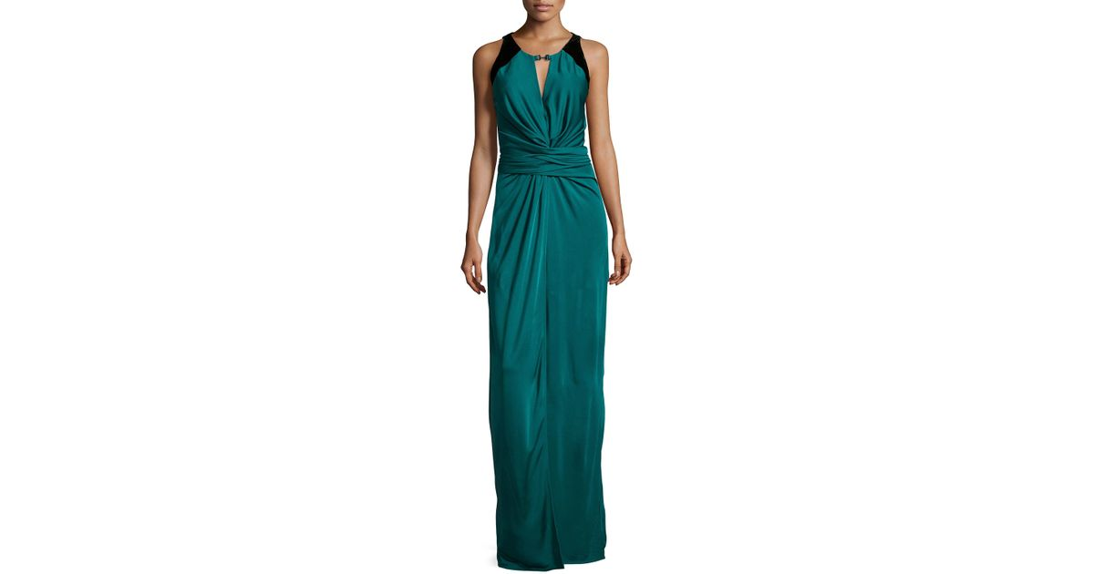 Halston Sleeveless Ruched-front Evening Gown in Black - Lyst