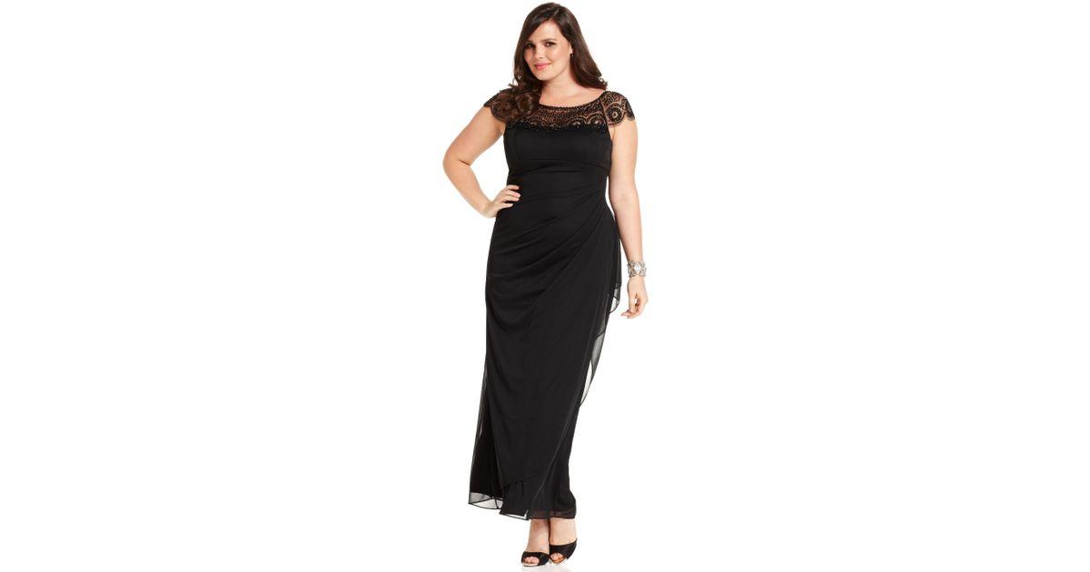 Lyst Xscape Xscape Plus Size Dress Cap Sleeve Beaded Draped In Black