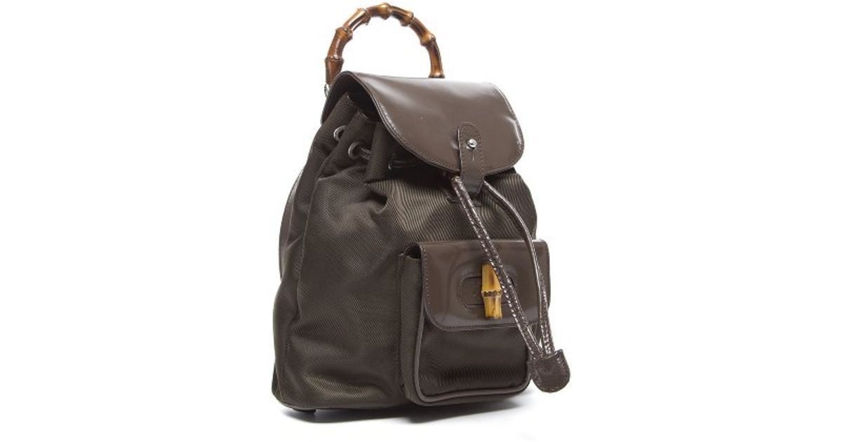 abfa3858c3e9a9 Lyst - Gucci Pre-Owned Brown Nylon Bamboo Handle Backpack in Brown