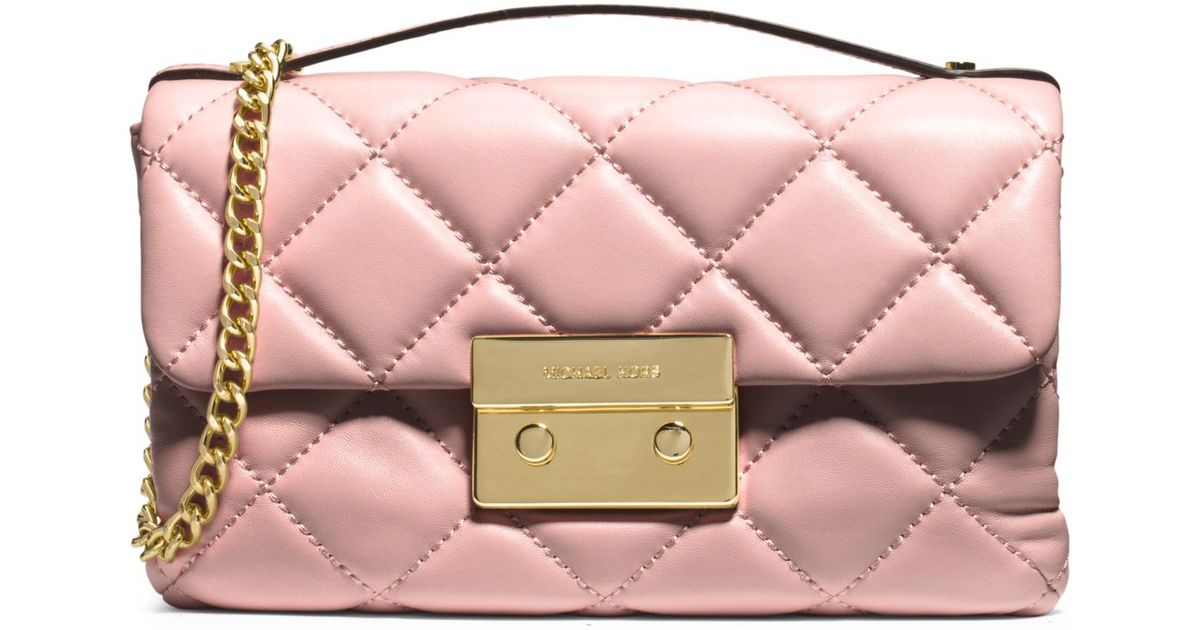 d090a9939a98 Lyst - Michael Kors Sloan Small Quilted Cross-Body Bag in Pink