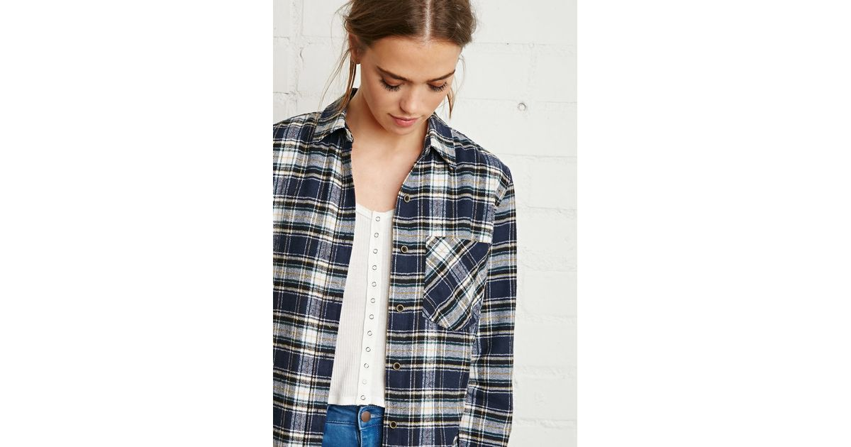 Forever 21 Flannel Plaid Shirt In Blue Navy White Lyst