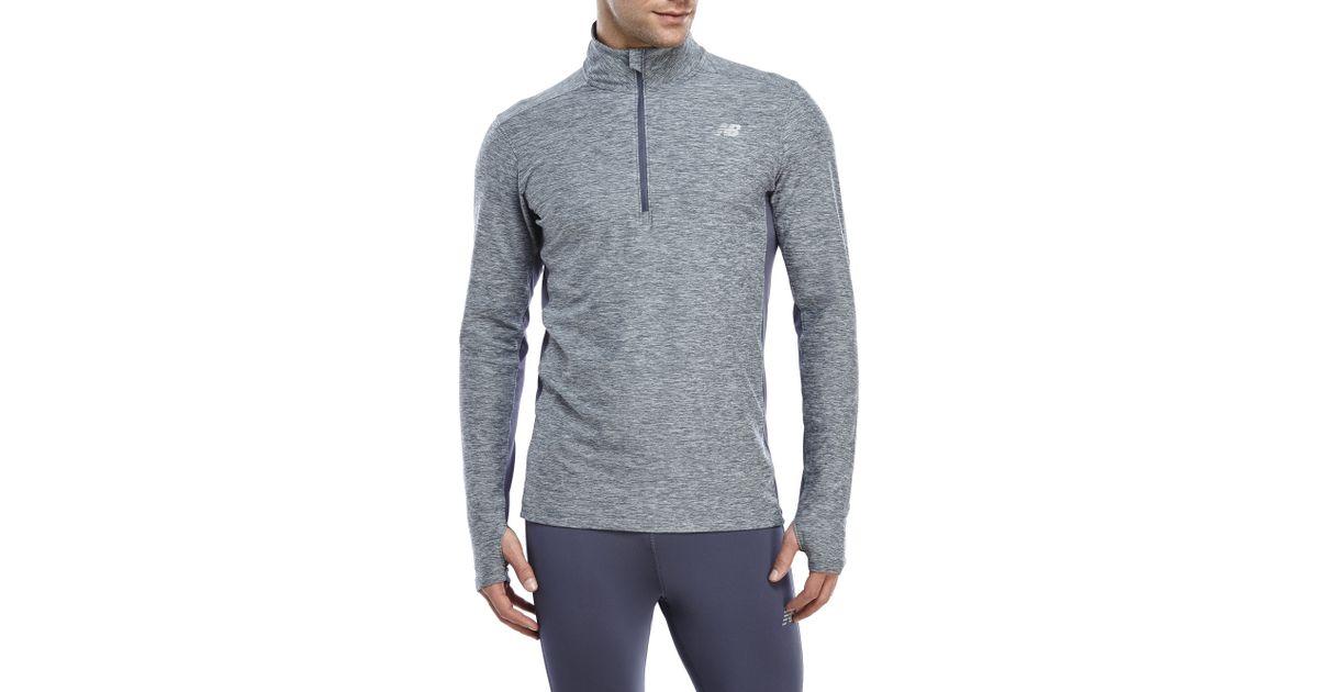New Balance Gray Lightweight Tech Quarter Zip Pullover for men
