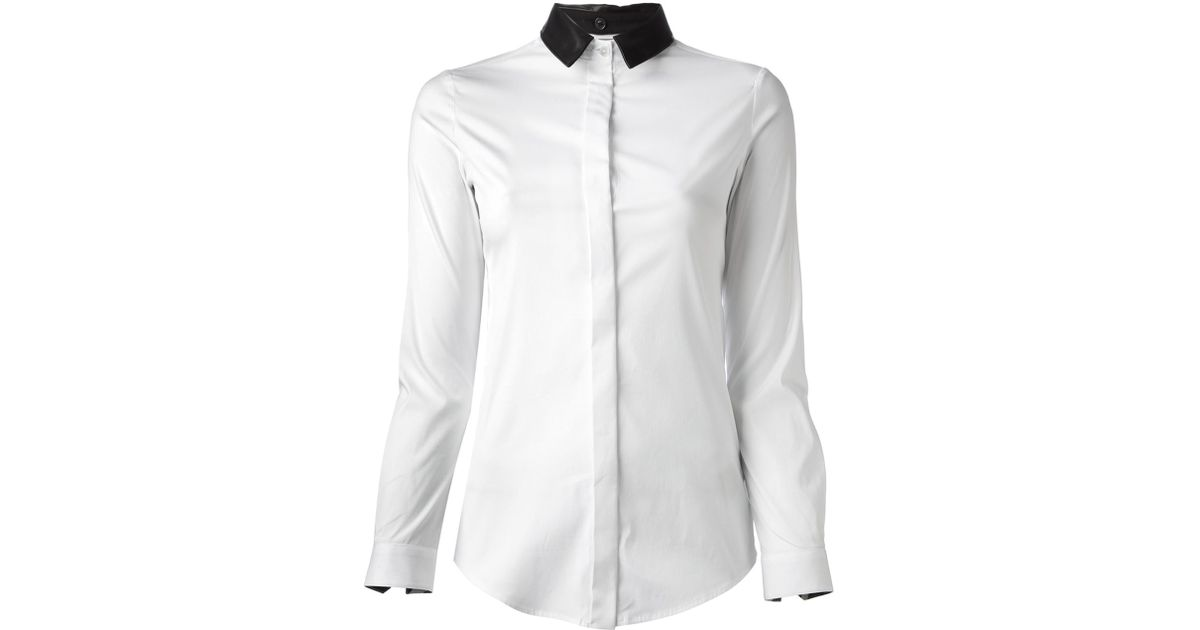 dc68f4c86446d Lyst - Burberry Leather Collar Shirt in White