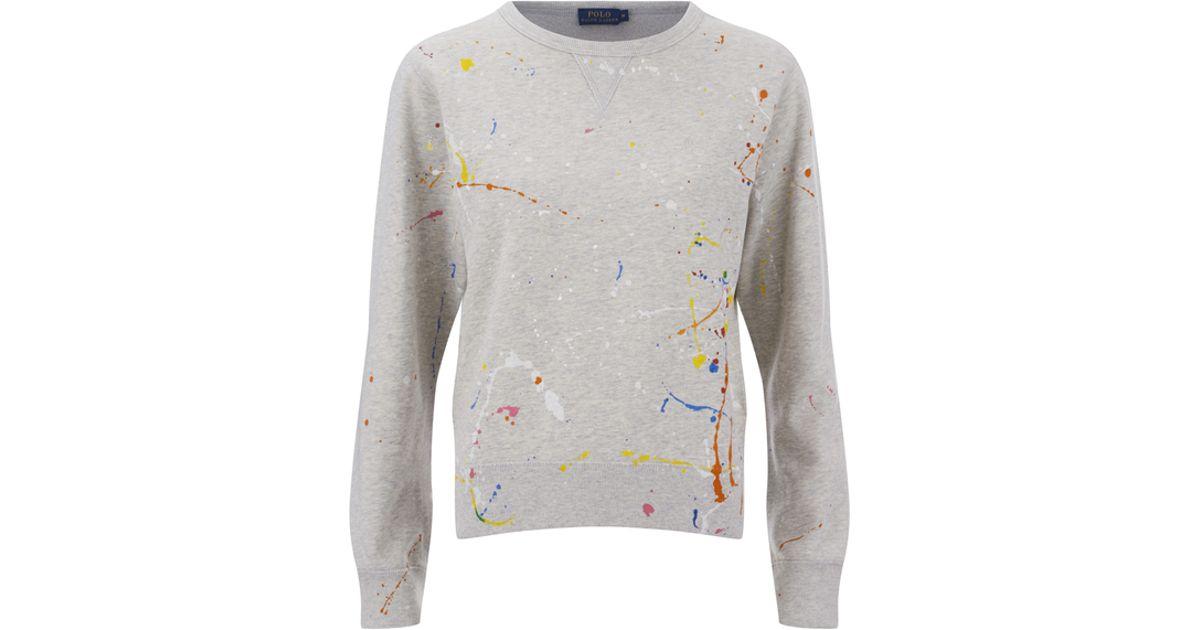 ... yellow crewneck polo ralph lauren 24a57 dbf58 new arrivals polo ralph  lauren womens paint splatter sweatshirt in gray lyst cfcd4 79e8b ... a33393b0f0f