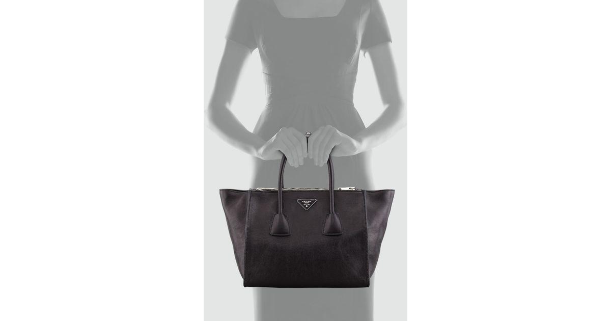 Prada Glace Calf Twin Pocket Tote Bag in Black (BLACK(NERO)) | Lyst