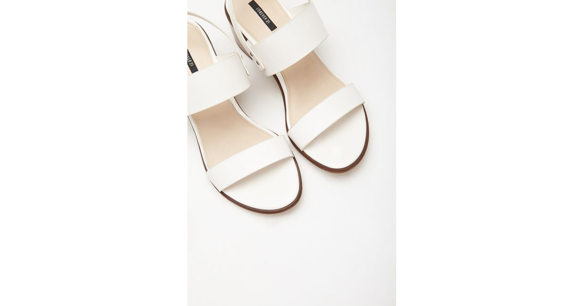 e19e30efeb4 Lyst - Forever 21 Faux Leather Slingback Sandals in White