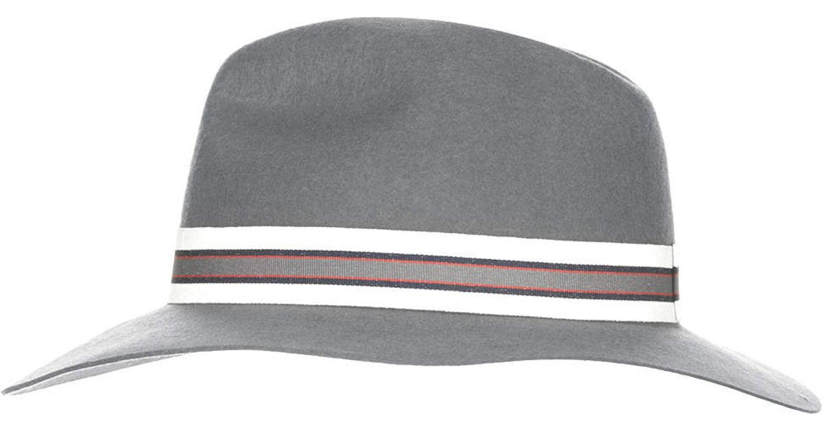 5f1c1e3de7b82 Lyst - TOPSHOP Womens Stripe Band Fedora Steel Grey in Gray