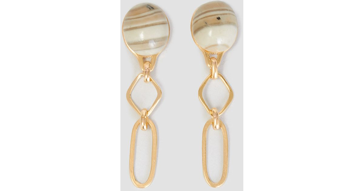helena rohner oval stone u rhombus earrings gold plated lyst