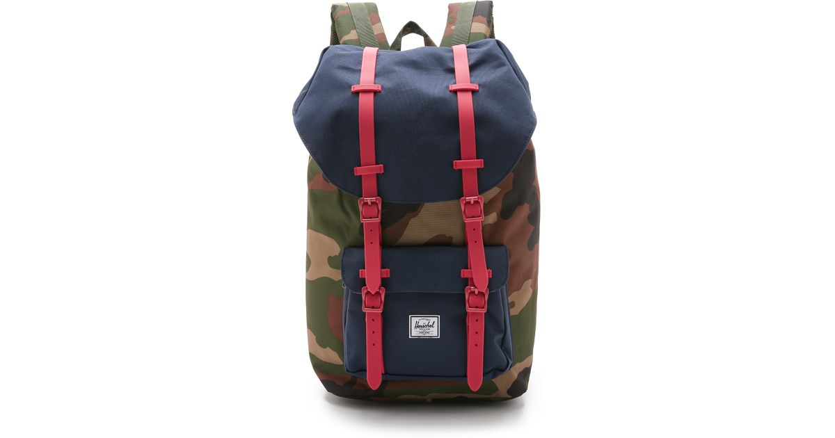 341e120832e Lyst - Herschel Supply Co. Little America Backpack - Woodland Camo Navy Red  in Green