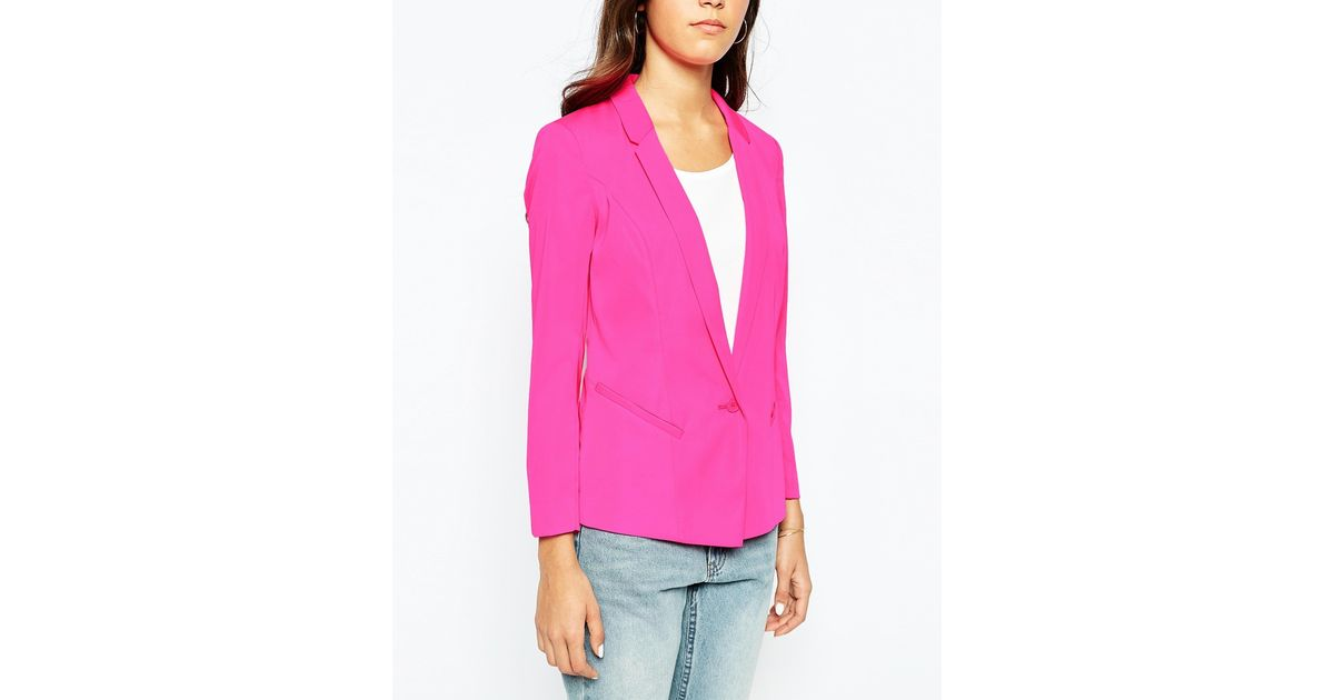 6a433baffac7 Lyst - Oasis Fluro Tailored Jacket in Pink