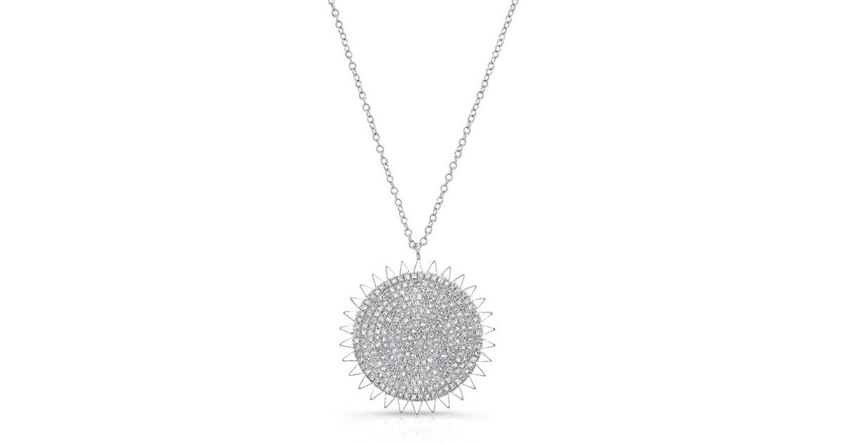673cb2111badc Lyst - Anne Sisteron 14kt White Gold Diamond Sun Necklace in Metallic