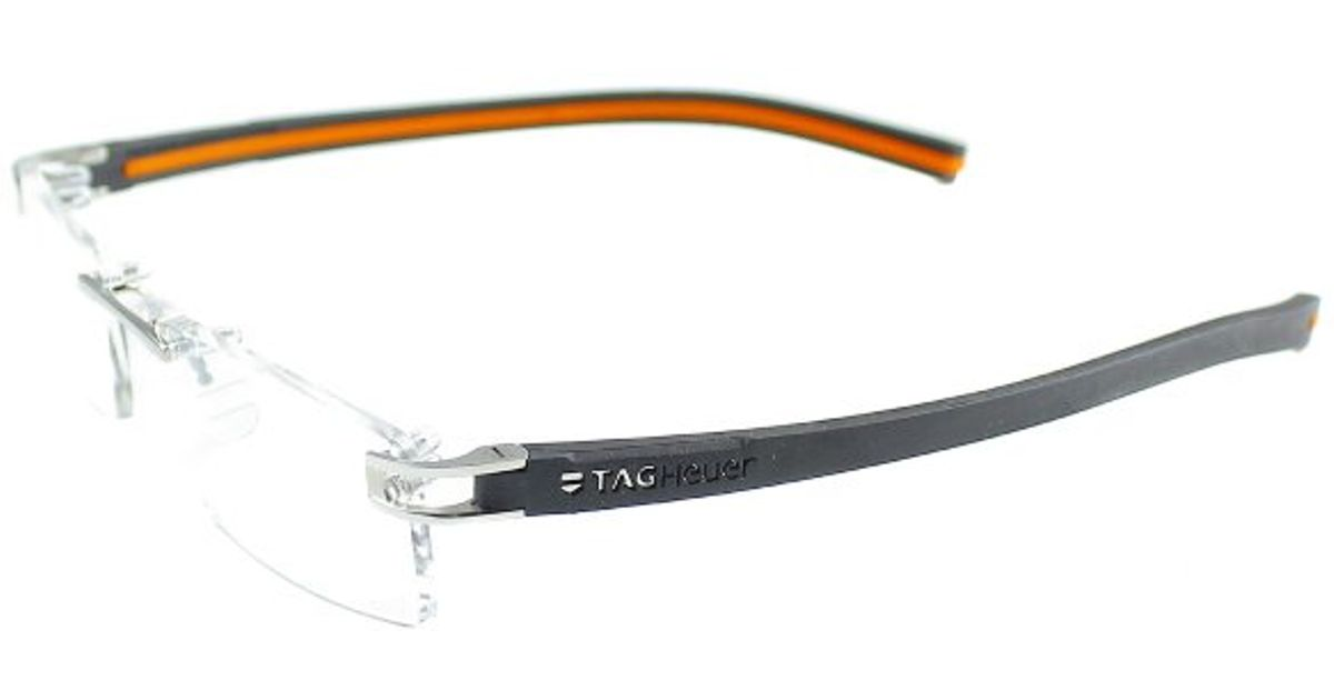 d317a9da1d Tag Heuer Tag 7641 004 Pure Black Orange Rimless Metal Eyeglasses-52mm in  Black - Lyst
