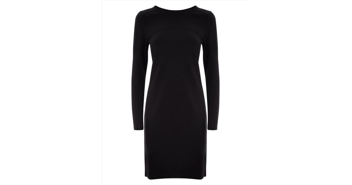Lyst Jaeger Ponte Jersey Seamed Dress In Black