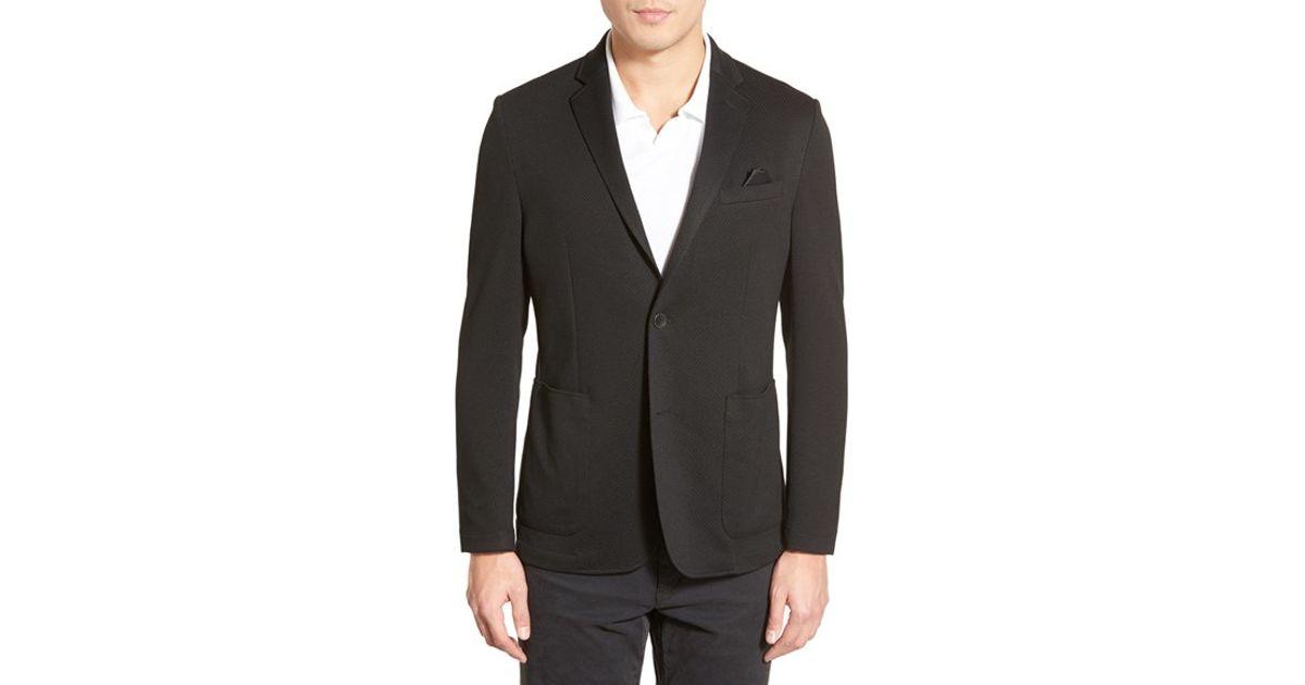 vince camuto slim fit stretch knit blazer in black for men. Black Bedroom Furniture Sets. Home Design Ideas