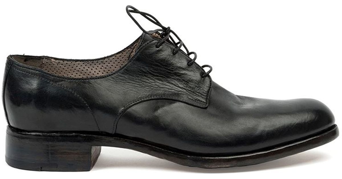 premiata stacked heel derby shoes in black for save