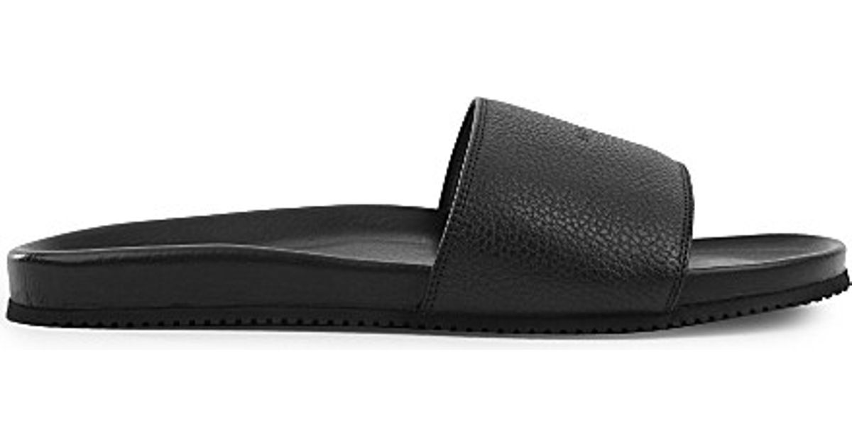 51a3c711db6 Lyst - Buscemi Logo-embossed Leather Pool Slides in Black for Men