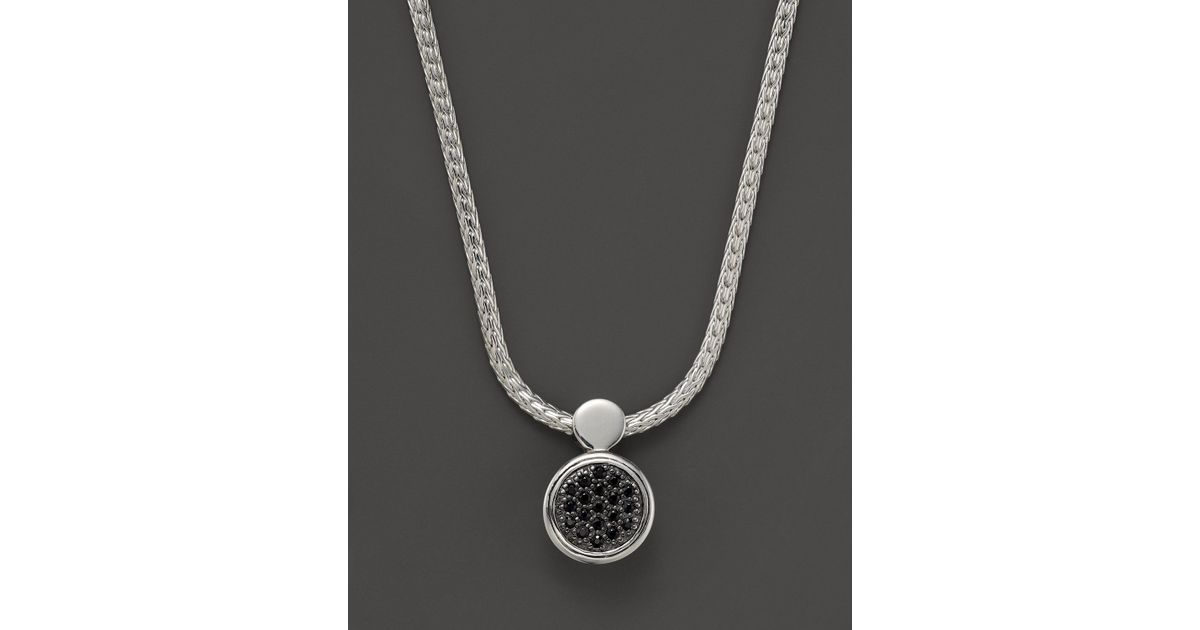 3e17fbb33a33e Lyst - John Hardy Dot Silver Lava Round Drop Pendant Necklace With Black  Sapphire