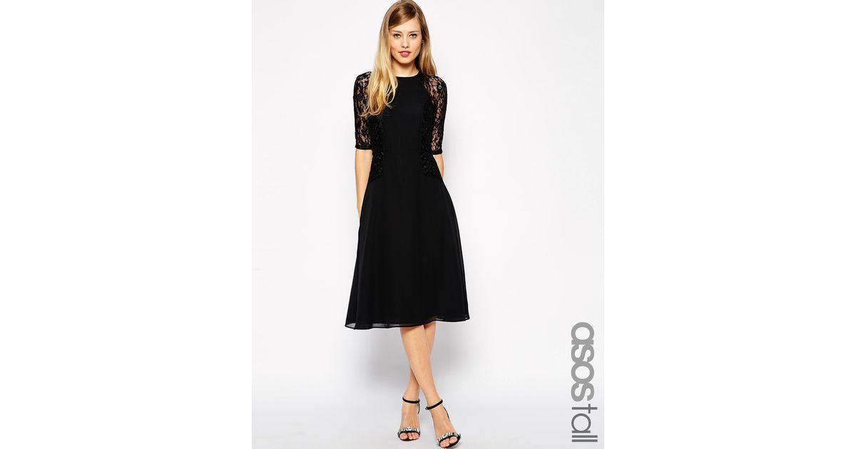 c868be1543 Lyst - ASOS Midi Skater Dress With Lace Panels in Black