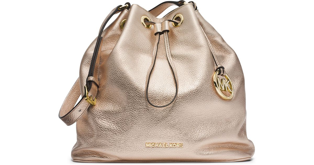 e24fa7d0ff91f Lyst - MICHAEL Michael Kors Large Jules Drawstring Shoulder Bag in Metallic