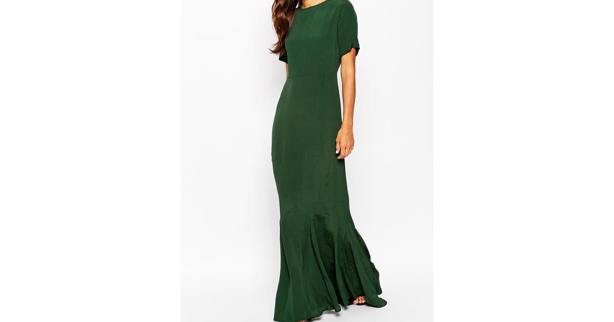 327b515ece2 ASOS Asos 30s Seamed Short Sleeve Fishtail Maxi Dress in Green - Lyst