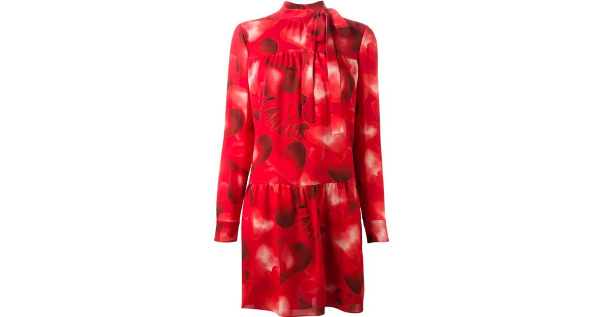 Valentino Heart Print Dress in Red - Lyst