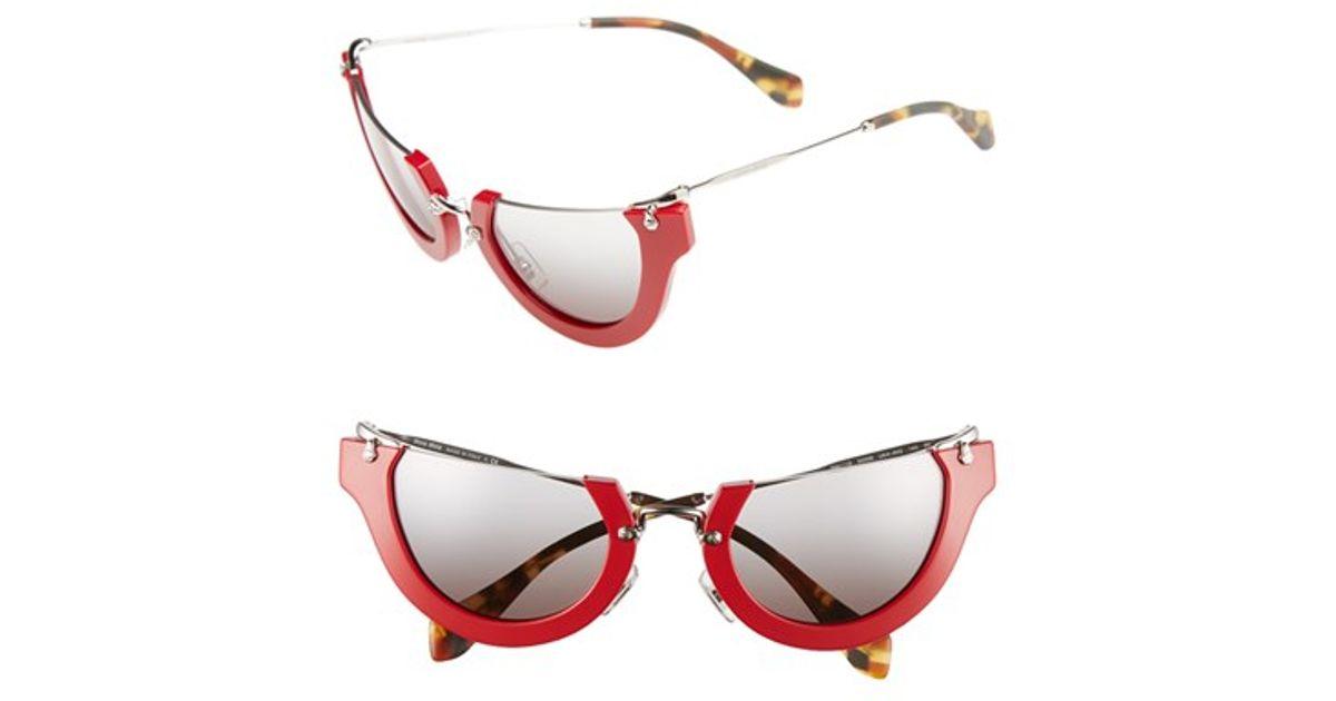 070990125884 Miu Miu 'noir' 52mm Semi-rimless Cat-eye Sunglasses in Red - Lyst