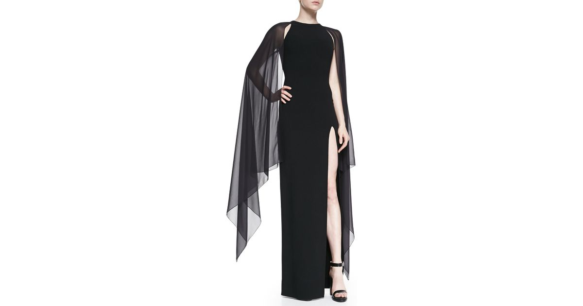Lyst - Michael Kors Wool-crepe Gown With Cape Back in Black