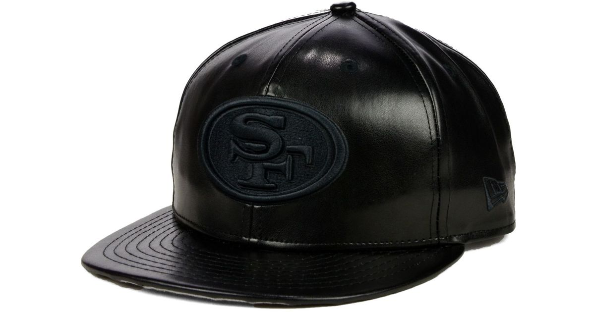 brand new ade65 c5b05 ... coupon code for lyst ktz san francisco 49ers faux leather black on black  9fifty snapback cap