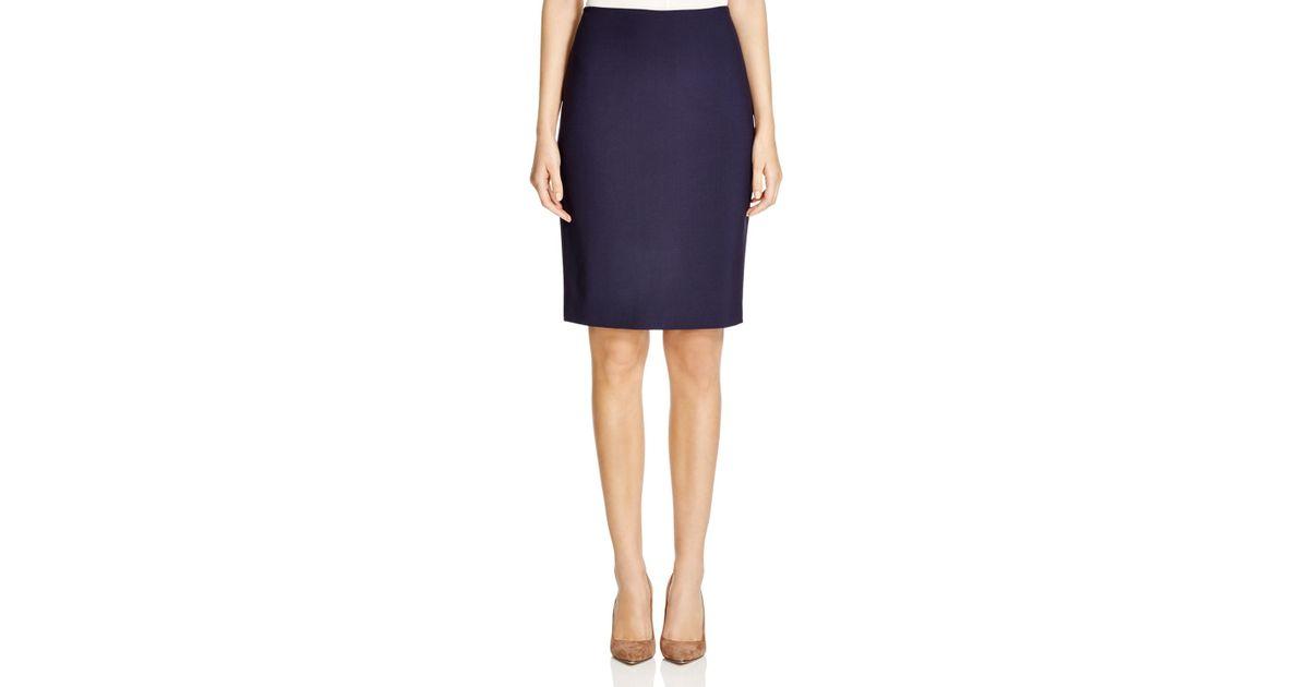 elie tahari penelope stretch wool pencil skirt in blue