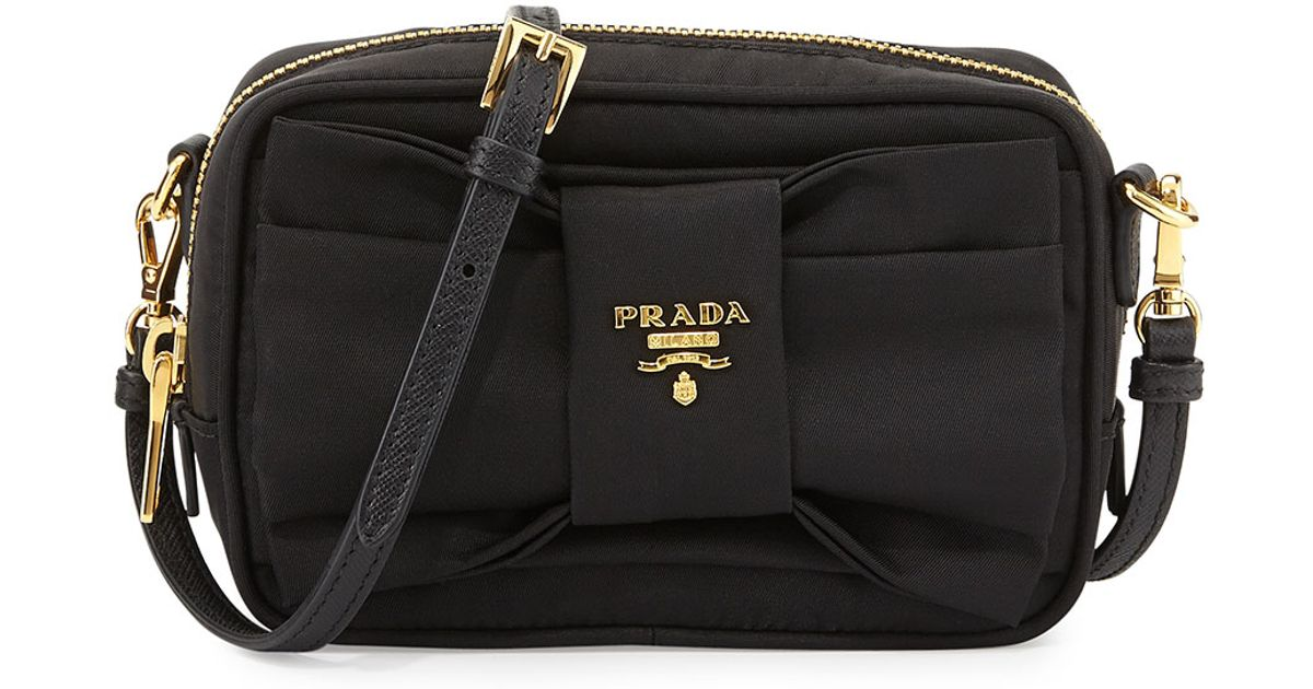 6f1216e60e1b ... buy lyst prada tessuto small bow crossbody bag in black b936a 220d4