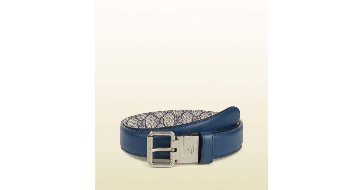 c3df28f5410 Lyst - Gucci Reversible Leather And Gg Supreme Belt in Blue for Men