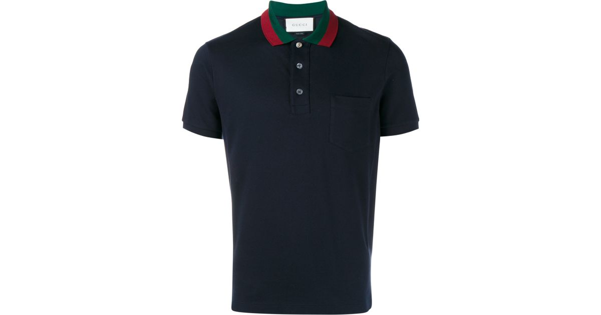 7856e885 Gucci Striped Collar Polo T-shirt in Blue for Men - Lyst