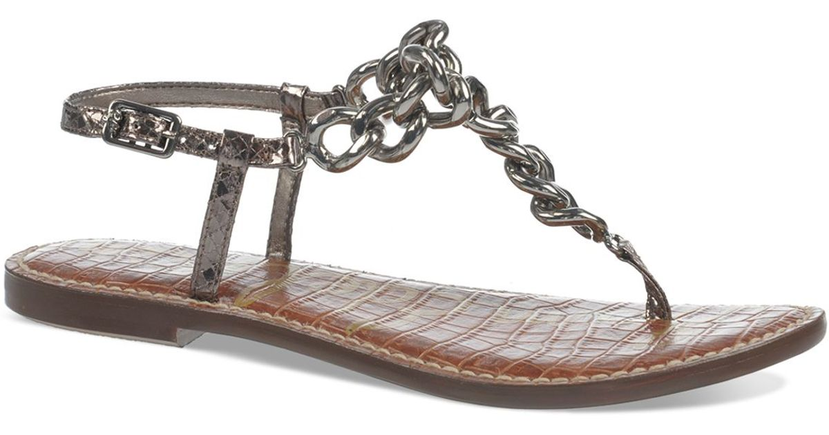 be6b4e778855 Lyst - Sam Edelman Thong Sandals - Grella Chain in Metallic