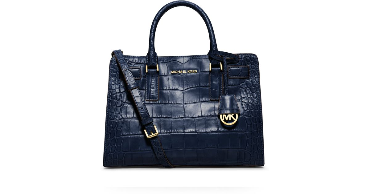 28c0428521a9 get lyst michael michael kors dillon crocodile embossed east west tote in  blue eba22 5d649