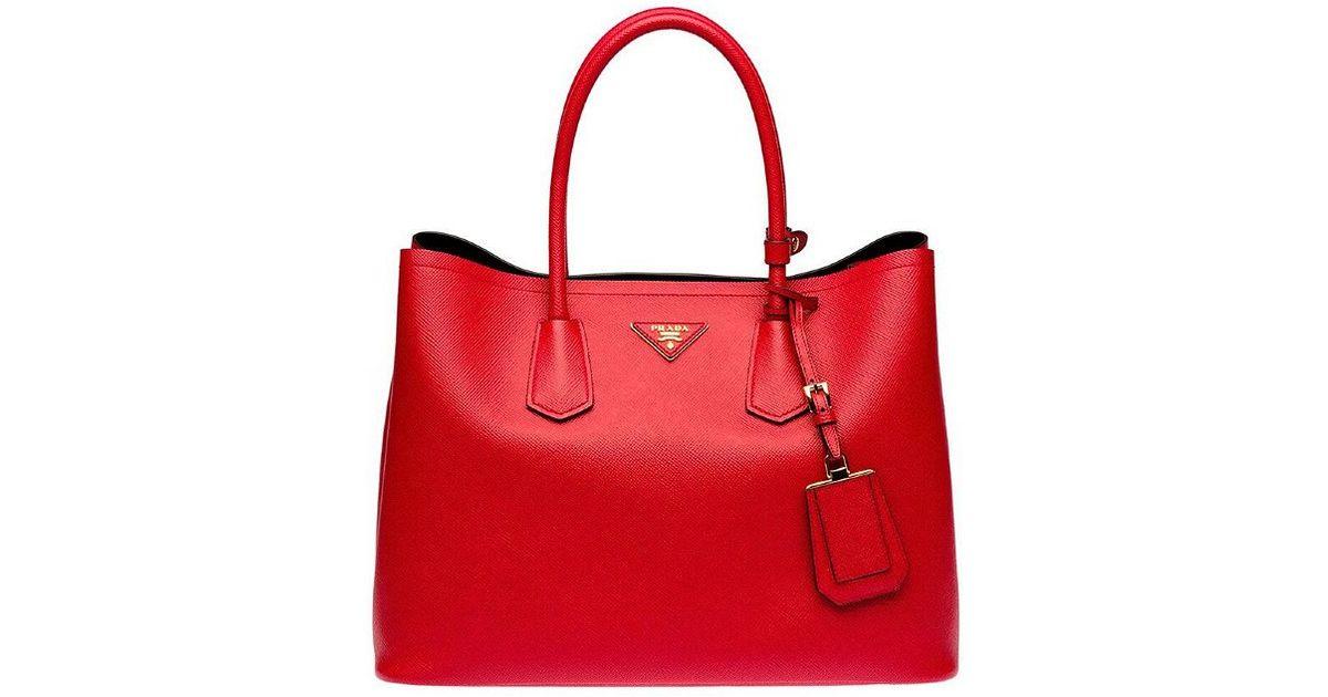 e67424e3b8cb Prada Lady In Red Saffiano Leather Tote in Red - Lyst