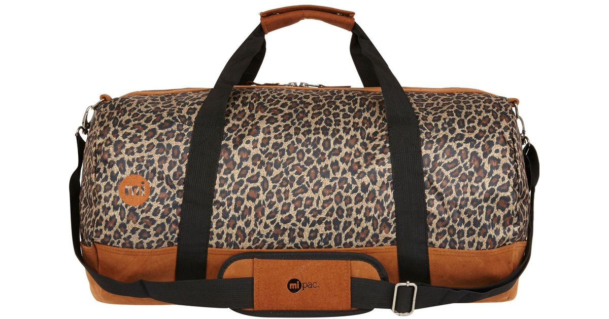 d8e5d75906a4 River Island Brown Mipac Leopard Print Duffle Bag in Brown - Lyst