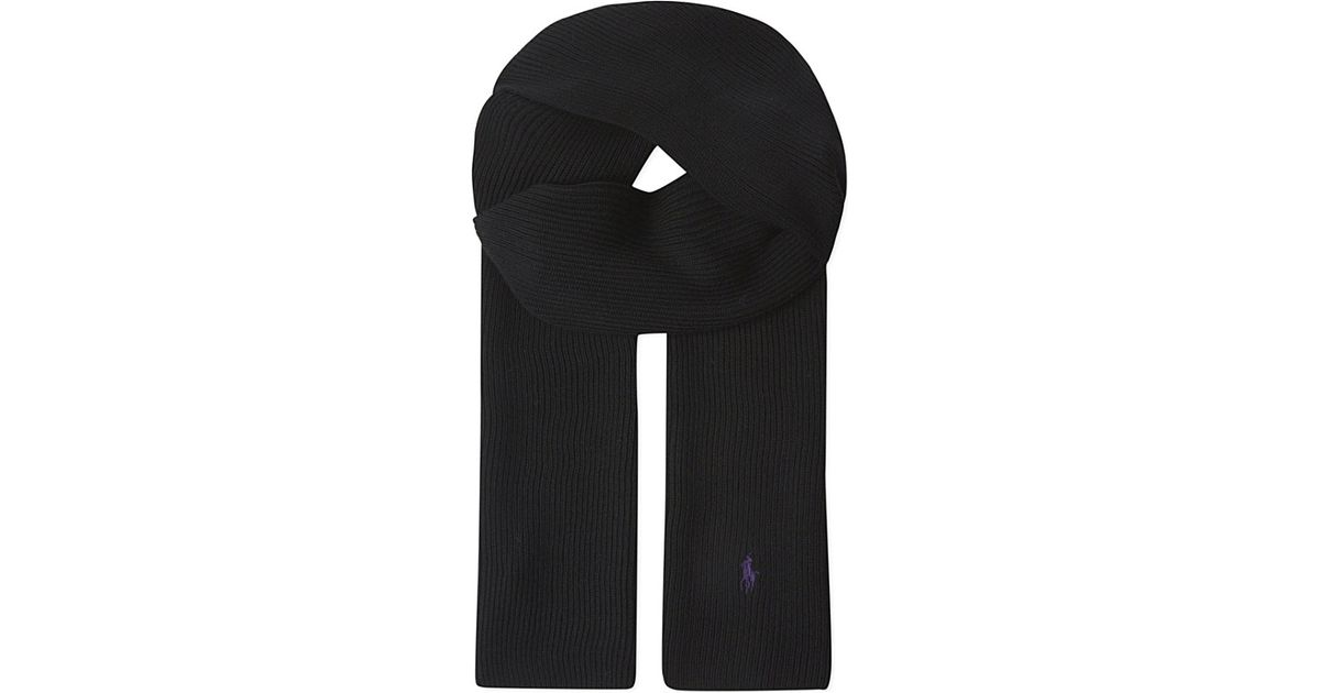 b38fcc187 ... where can i buy lyst polo ralph lauren ribbed merino wool scarf in black  67a51 df5c2