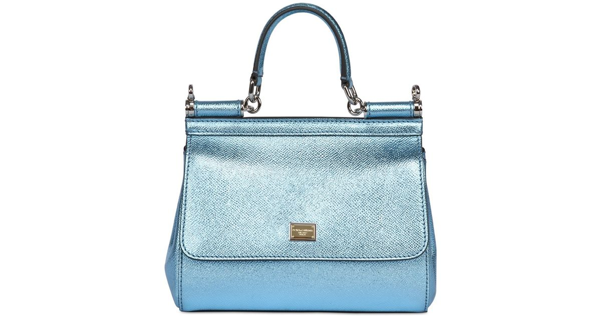 b4ba389ca2 Lyst - Dolce   Gabbana Small Sicily Lamé Dauphine Leather Bag in Blue